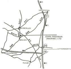 Original map to the Freeman Cruisers factory in Wolvey
