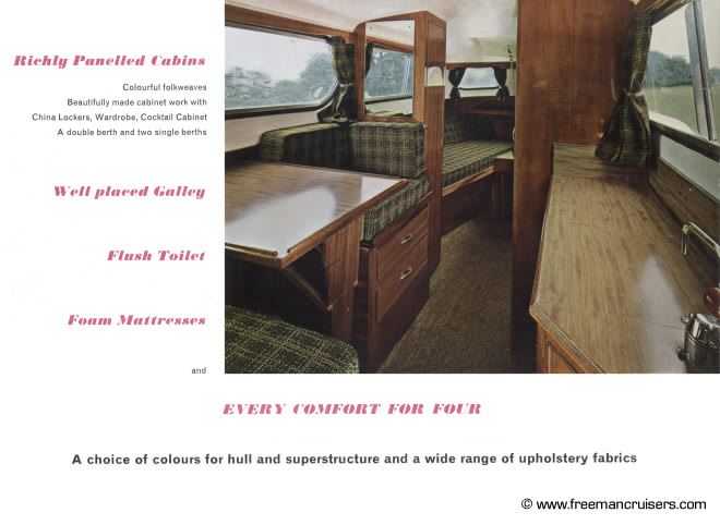 Looking inside the Freeman 22 Mk2s richly panelled cabin.