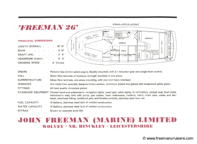 The original specification of the Freeman 26.